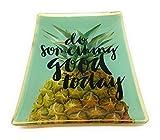 Ananas Tablett Grün Porzellan 10x10cm Tapasschale Serviertablett Servierplatte Käseplatte Fleischteller Fleischplatte Tablett