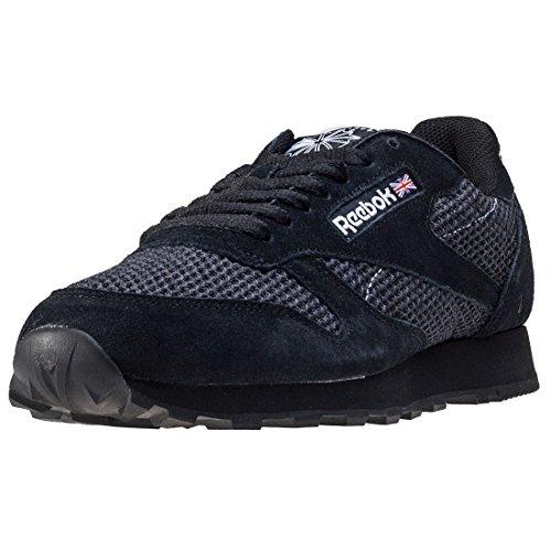 Reebok Sapatos De Couro Cl Malha Preta