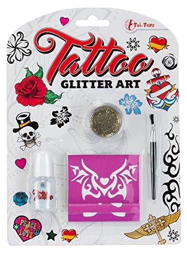 Preisvergleich Produktbild Brandsseller Tattoo Glitter Art Körperfarbe Kinderschminke Kinderkosmetik - mit Schablonen und Pinsel - Gold