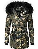 Marikoo Damen Mantel Wintermantel Winterparka Elle (vegan hergestellt) Camouflage Gr. XXL