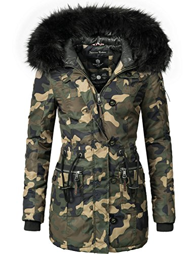 Camouflage Nylon Parka (Marikoo Damen Mantel Wintermantel Winterparka Elle (vegan hergestellt) Camouflage Gr. XXL)