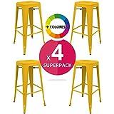 regalosMiguel - Pack 4 Taburetes Industriales Torix Amarillos (Inspirado en la Línea Tolix)
