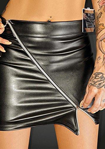 Preisvergleich Produktbild Schwarz Handmade F126Mini Rock mit Zip Ruler Größe 6x L