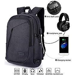 """Mochila Antirrobo para Ordenador o iPad hasta 15.6 pulgadas, con USB Puerto y Puerto de Auriculares, Resistente al Agua, Ideal para Estudiantes/ Negocios/ Viajes, 28cm x 18cm x 50cm/ 19.7 x 11 x 7"""", Negro"""