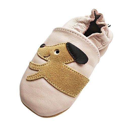 Engel+Piraten Krabbelschuhe Markenqualität Aus Deutschland- Viele Modelle bis 4 Jahre Babyschuhe Leder Lauflernschuhe Lederpuschen (12-18 Monate(Gr.20/21), Hund Rosa) (Rosa Leder-mokassins)