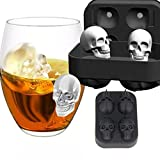 3D Skull Shape Ice Cube Tray Mold, Maker Bar Party Silicone Trays Chocolate, Red Wine, Whiskey, Soft Drinks Mold Tray Gift MML (12*8.5*5CM, Black)