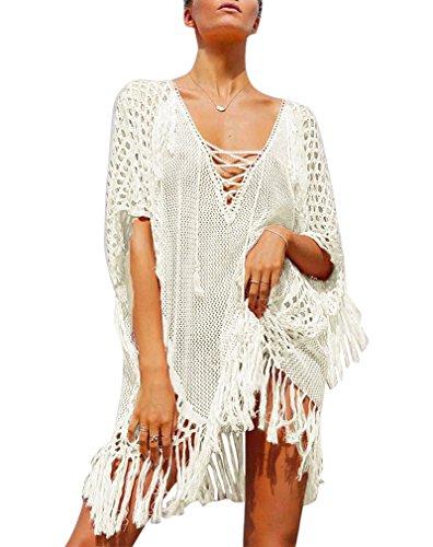 Hikong Copricostume Mare Donna Costume da Bagno a Maglia Maglietta Uncinetto con Nappe Camicetta Kimono Top Vestito per Bikini Spiaggia Beachwear stile 5