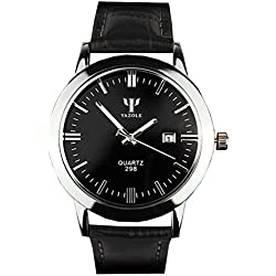 Men Waterproof Blue Ray Glass Black Leather Strap Quartz Wrist Watch-Black Dial