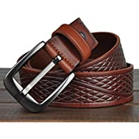 """HOMBRES cinturones estilo Retro cuero cuero de grano completo 100% correa de cuero para los hombres con un puncher de agujero del cinturón bono Metal ancho de 1,4"""" todos tamaños Ideal de Navidad para hombres , light brown"""