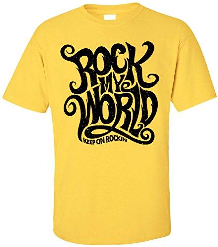 PAPAYANA - ROCK-WORLD - Herren T-Shirt - HARDROCK MUSIC BAND CONCERT CHARTS POP Guitar Gelb