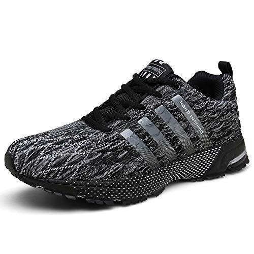 SOLLOMENSI Herren Schuhe Sportschuhe Laufschuhe Turnschuhe Sneaker Joggingschuhe Freizeitschuhe Outdoor Schuhe Trainers Running 45 EU F Grau - Für Männer Running Schuhe