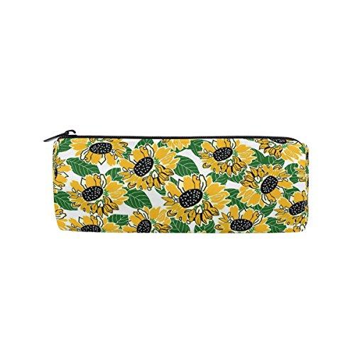 (COOSUN Federmäppchen in Form eines gelben und schwarzen Sonnenblumen-Design, Zylinderform, für Stifte, Schreibwaren, Kosmetiktasche, Make-up-Tasche)