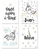PICSonPAPER 'picson Paper Niños Póster Juego de 4Unicornio 2, ungerahmt DIN A4, decoración para habitación Infantil (para niña, niño Póster, Regalo, de impresión