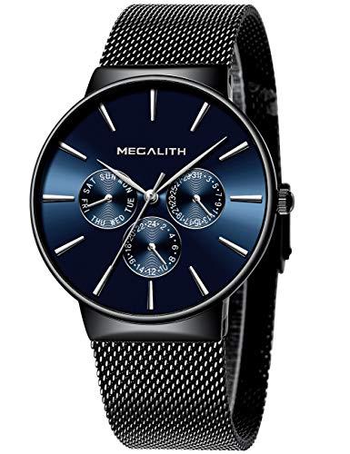 Herren Uhr Männer Wasserdicht Sport Edelstahl Mesh Schwarz Dünne Armbanduhren Klassische Elegant Datum Kalender Analog Quarz Kleid Blau Herrenuhr