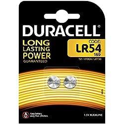 Pile alcaline Duracell spéciale LR54 1,5V, pack de 2 (189 / 191 / V10GA / LR1130), conçue pour une utilisation dans les jouets, calculatrices et dispositifs de mesure.