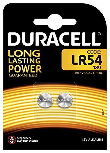 Pile alcaline Duracell spéciale LR54 1,5 V, pack de 2 (189 / 191 / V10GA / LR1130), conçue pour une utilisation dans les jouets, calculatrices et dispositifs de mesure.