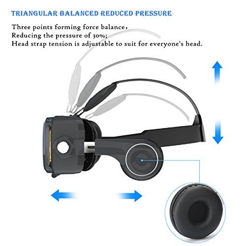 3D VR Headset , MENGGOOD 3D Virtuelle Realität Brille Virtual Reality Brille Headset Video Box Für VR Spielen und 3D Filme mit Kopfhörer [Bluetooth Controller Fernbedienung] Kompatibel mit iPhone 6S , 6 Plus , 5S Samsung S8 , S7 & 4 ~ 6 Zoll Smartphones [Schwarz]
