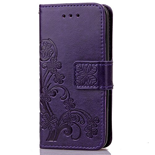 iPhone Case Cover Étui pour iPhone 5c, trèfle chanceux en relief, étui en cuir solide, rétro, étui en cuir PU avec étui à main, étui folio pour porte-monnaie pour iPhone 5c ( Color : Brown , Size : IP Purple