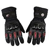 Bonnoeuvre Par Guante de moto Impermeable Guantes Dedo Completo PU Proteccion para Moto Bici Motocicleta Motorista puede pantalla táctil guantes de esquí (XL, Negro)