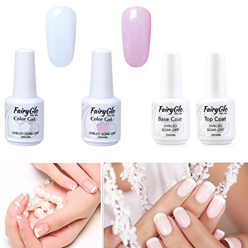 Esmalte de Uñas Semipermanentes Kit Uñas de Gel UV LED para Manicura Francesa 4pcs Kit con Base Coat Top Coat 1pcs Tip Guides Soak off Manicura y Pedicura 15ml de Fairyglo