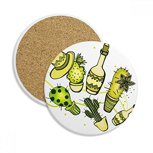 DIYthinker Sombrero Mexiko Wüsten-Kaktus Mexikanische Stein Trinken Keramik-Untersetzer für Becher-Schalen-Geschenk 2pcs Mehrfarbig