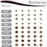 Great Ideas-Baterías de botón (Tipo LR44batería Reloj y Audiencia Ayuda Baterías LR44LR41, LR1130, LR621, LR43, LR626, 45. Gran Paquete de Valor.