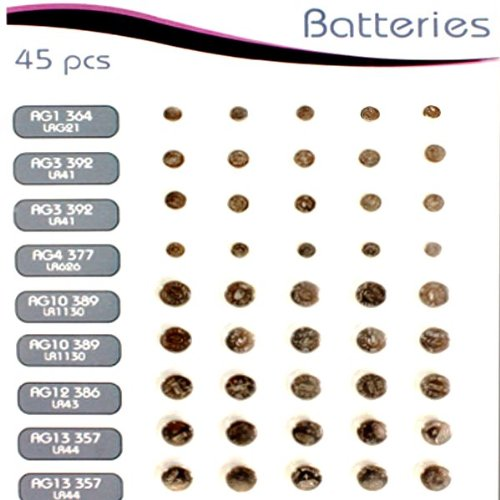 Great Ideas - Baterías de botón (tipo LR44, LR41, LR1130, LR621, LR43, LR626, 45 unidades)