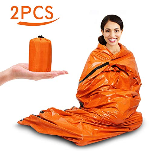Infreecs Notfall Biwak-Sack, Notfall-Zelt, Survival Schlafsack, Outdoor NOTFALLVORSORGE mit Ultraleicht hitzeabweisend Kälteschutz - 2 Stück