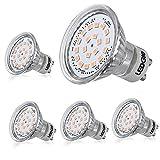 LEDGLE 3.6W Bombillas LED GU10 bombillas de proyección, igual a 60W bombillas halógeno, 120 ° ángulo de haz, blanco cálido, 3000K, 350 lúmenes, 20 LED, 5 piezas