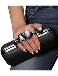be8dbd17eea86 CASPAR Damen Schlagring Box Clutch Abendtasche mit Totenkopf und grossem  Circon - viele Farben