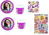 Cdc -kit n°3 festa e party Soy Luna- (8 piatti, 8 bicchieri, 20 tovaglioli,1 tovaglia)