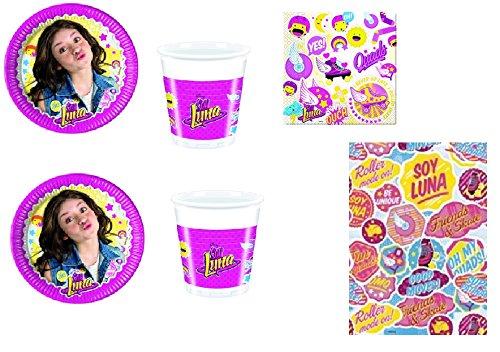 CDC–Kit N ° 3Fête et Party Soy Luna (8assiettes, 8gobelets, 20serviettes, 1nappe)