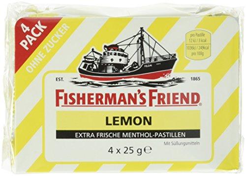 Preisvergleich Produktbild Fisherman's Friend Lemon ohne Zucker - Hustenbonbons,  4er Pack (4 x 25 g)