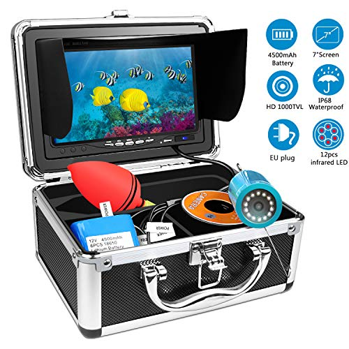 HBUDS Unterwasser Fischfinder Kamera, HD Angelkamera 15M für Meeresangeln Eisangeln Bootsangeln, Professionelle Nachtsicht Unterwasserfischen Videokamera mit 7 Zoll LCD Monitor EU Stecker