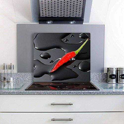 Gsmarkt | Herdabdeckplatte Schneidebrett Spritzschutz 60x52 | Bild auf Glas | Sicherheitsglas Gehärtetes Glas Bild | Motiv Paprika