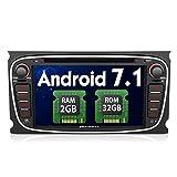 Pumpkin Android 7.1 Autoradio Moniceiver für Ford Focus Mondeo mit Navi Unterstützt Bluetooth DAB + WLAN 4G Android Auto USB MicroSD CD DVD 7 Zoll Bildschirm 2 Din