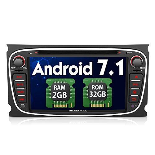 PUMPKIN Android 7.1 32GB+ 2GB Autoradio für Ford Focus Mondeo Galaxy S-MAX mit Navi 7 Zoll Bildschirm Radio Unterstützt Fastboot DAB+ Bluetooth WLAN USB SD CD Lenkradfernbedienung 2 DIN