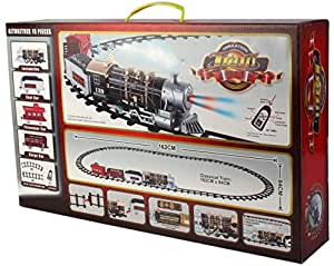 HEER Toy Train and Track Set with 4 Cars and 4 Realistic Sounds, Smoke, Headlight for Kids, (Multicolour)