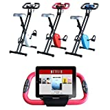 Vivo © Foldable Magnetic Exercise X Bike For Cardio Fitness Workout Weight Loss Body Tine Cycle Bicycle Folding Home Cycling Machine with iPad / Samsung / Tablet Holder- White