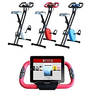 Vivo © Foldable Magnetic Exercise X Bike For Cardio Fitness Workout Weight Loss Body Tine Cycle Bicycle Folding Home Cycling Machine with iPad / Samsung / Tablet Holder - Red
