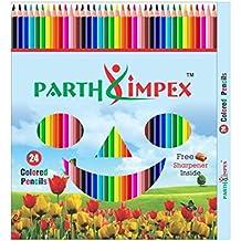PARTH impex vibrante 24lápices de colores, suave color Core Set De Lápices Para Niños Adultos Coloring Book, Art Pintura Rotulador de dibujo Escritura de Dibujo, Libre afilador de cuchillos
