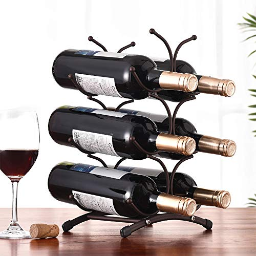 Unbekannt YF 6 Flaschen Weinregal Aus Schmiedeeisen Schmiedeeisen Mode Wohnzimmer Dekoration Weinflaschenhalter Für Zuhause Weinkeller Bar Wine Show 16 * 25 * 35.5CM - 25 Flasche Weinkeller