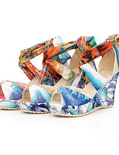 LFNLYX Chaussures Femme-Habillé / Décontracté-Rouge / Beige / Amande-Talon Compensé-Bout Ouvert-Sandales-PU almond