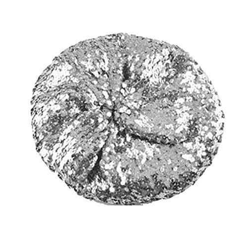 keland Sparkle Sequine Einstellbare Mütze Baskenmütze Hut Tanzen Tam Cap Silber (Silber)