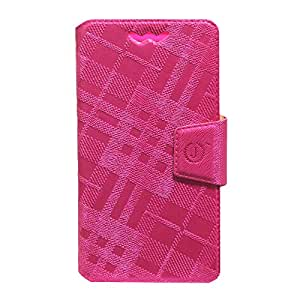 Jo Jo Cover Krish Series Leather Pouch Flip Case With Silicon Holder For Micromax Bolt A67 Dark Pink