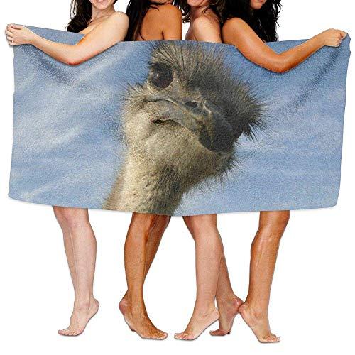 Laohujia Beach Pool Custom Bath Towel Cool Curious Ostrich Funny Super Absorbent Microfiber -