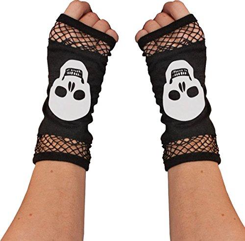 Gothic Emo Steampunk Lust Sexy Skelett Knochen Sammlung Fingerlose Fischnetz Handschuhe