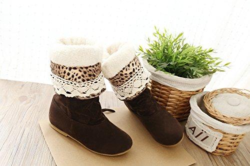 große Größe 34,5-41,5 Herbst Winter elegante flache Schuhe Mode Herde kniehohe Stiefel beiläufige Schuhe der Frauen Prinzessin süße Schneeschuhe braun Verdickung
