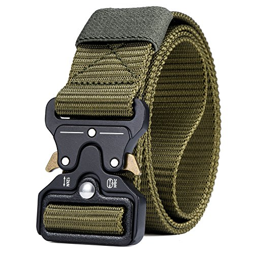 Military Tactical Herren Gürtel, Quick Release Schnalle, Heavy Duty Gürtel,Grün 110cm (Heavy-duty-schnalle)