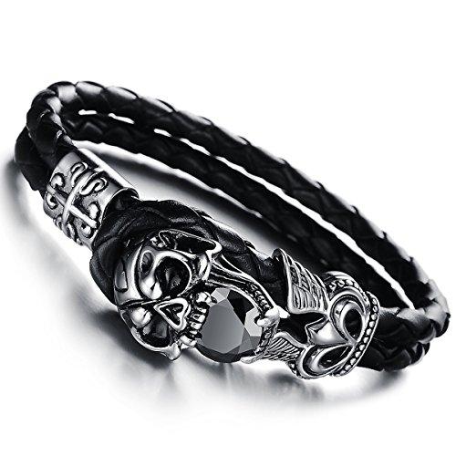 Cupimatch Schmuck für Herren aus Edelstahl, schwarzer CZ-Totenkopf, geflochtenes Leder-Armband, Armreif, 21,6cm